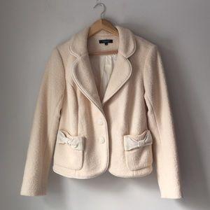 Karen Kane Lifestyle Cream Boiled Wool Bow Jacket